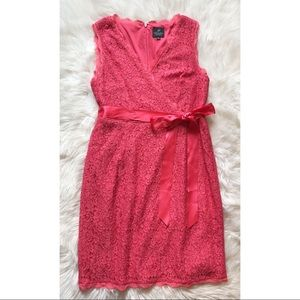 Adrianna Papell   Coral Pink Lace Dress